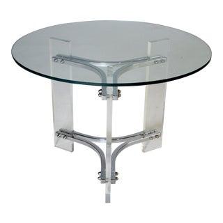 Charles Hollis Jones Lucite Chrome & Glass Table For Sale