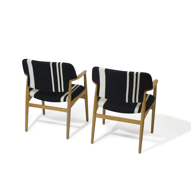 Pair of Aksel Bender Madsen for Fritz Hansen Oak Armchairs For Sale - Image 9 of 11