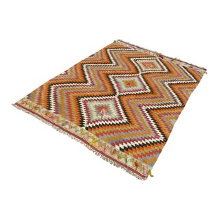 "Anatolia Orange Kilim Rug-5'4'x7'5"" For Sale"
