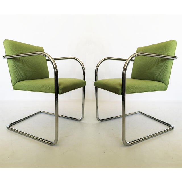Pair of Brno Chairs in Green For Sale - Image 9 of 9