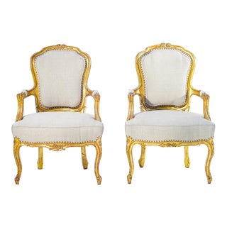 19th C. French Giltwood Armchairs - a Pair For Sale