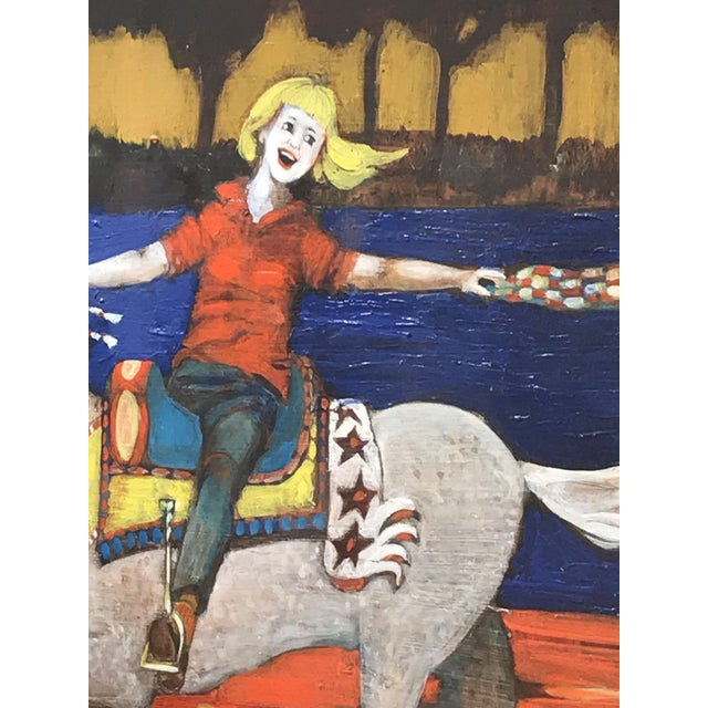 Paper 1980s Folk Art Style Figurative Unicorn Painting on Board by Ted Bredt For Sale - Image 7 of 10