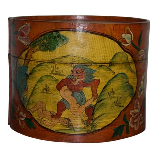 Vintage Asian Hat Box For Sale