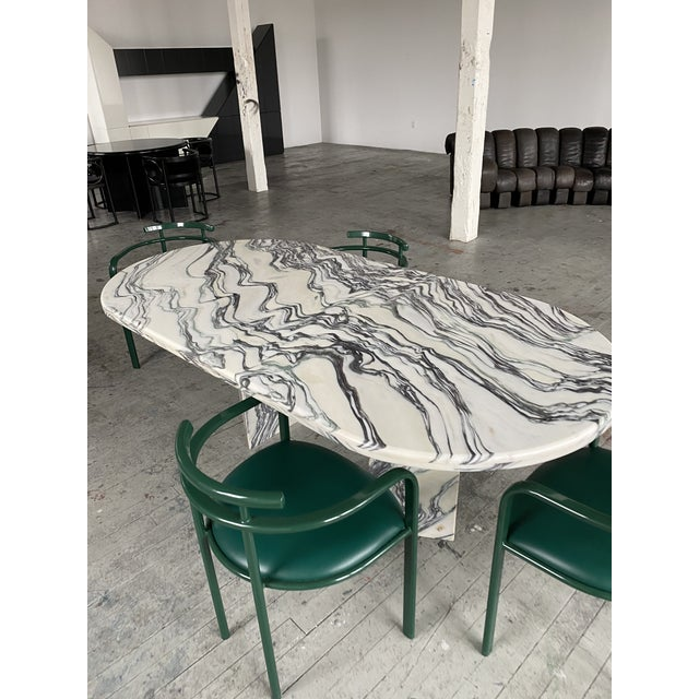 1980s 1980s Postmodern Oval Marble Dining Table For Sale - Image 5 of 8