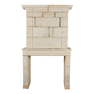 18th Century Neoclassical French Limestone Fireplace Surround For Sale