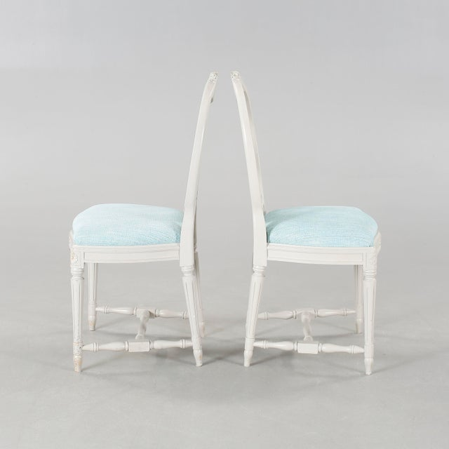 Gustavian (Swedish) 1970s Vintage Gustavian Carved Rose Chairs- Set of 6 For Sale - Image 3 of 6