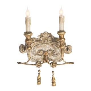 Elegant Set of Six Italian Style Two-arm Sconces With Lovely Worn Finish For Sale