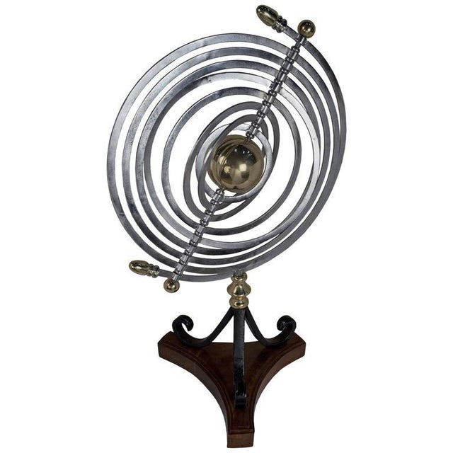 Metal Chrome and Brass Armillary With Teak and Iron Base For Sale - Image 7 of 7
