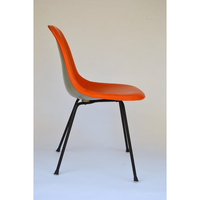 Herman Miller Eames Orange Vinyl Side Shell Chair For Sale - Image 5 of 9