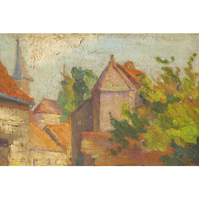 Mid-Century French Village Impressionist Painting - Image 3 of 6