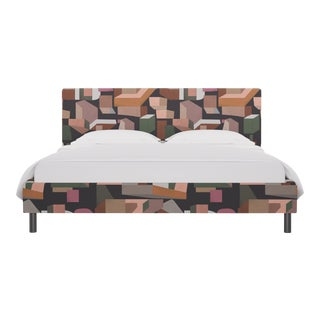 California King Tailored Platform Bed in Ink Melio For Sale