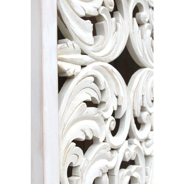 Wood Acanthus Whitewashed Wooden Carved Panel For Sale - Image 7 of 11