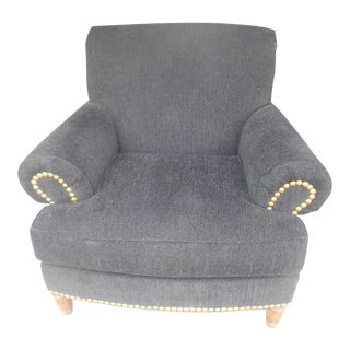 Vintage Black Chenille & Brass Studs Club Chair For Sale