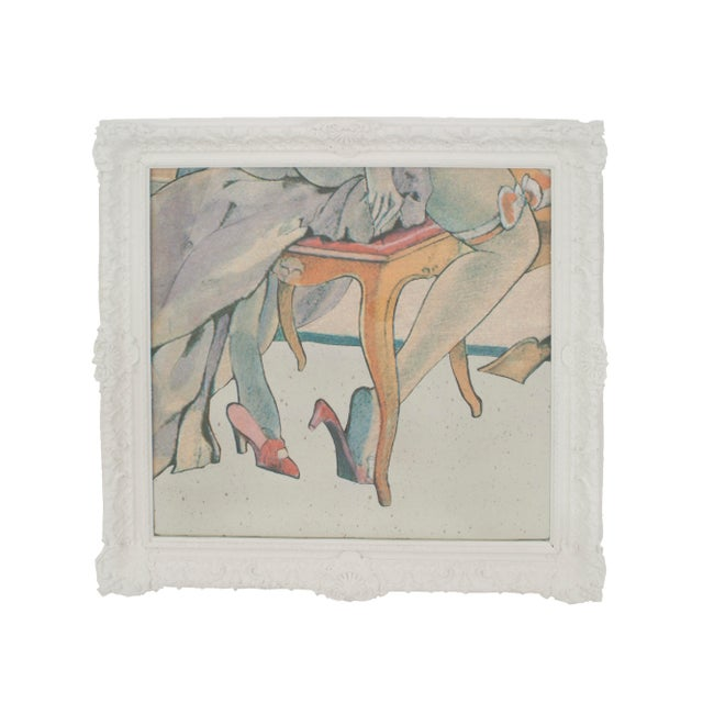Contemporary reverse printed & painted on glass and mirror multicolored stylized scene in a white lacquered carved frame...