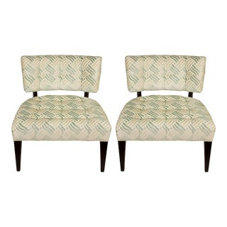 Low Mid-Century Modern Chairs in Fret Velvet Fabric - A Pair For Sale