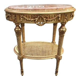 French Louis XVI Wooden Table With Marble Top For Sale