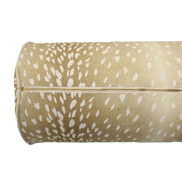 Blue Natural Antelope Bolster and Spa Blue Velvet Pillows - Set of 4 For Sale - Image 8 of 9
