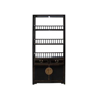 Chinese Distressed Gloss Black 3 Shelves Bookcase Display Cabinet For Sale