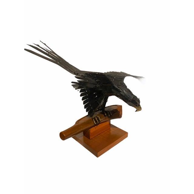 Metal Vintage Artisan Mid-Century Welded Metal Sculpture Flying Eagle For Sale - Image 7 of 9