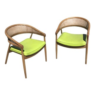James Mont Cane Back Lounge Chairs - A Pair For Sale