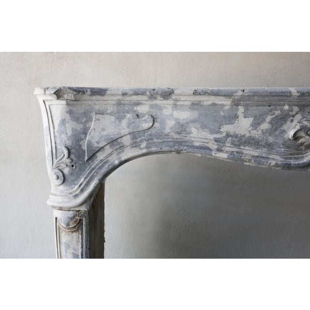 Antique Gray Marble Stone Fireplace, 19th Century, Louis XV For Sale - Image 6 of 7