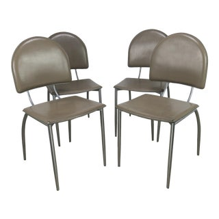 1970s Vintage Italian Sculptural Dining Side Chairs - Set of 4 For Sale