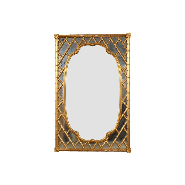 Faux Bamboo Carved and Gilt Mirror For Sale