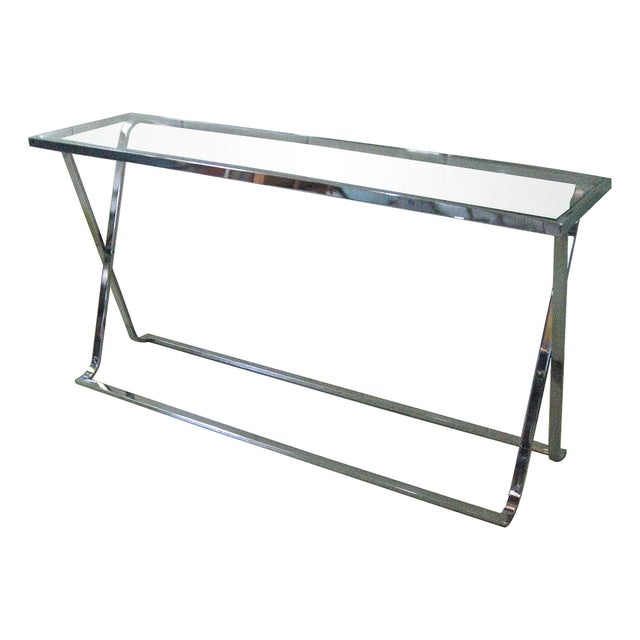 X-Base Chrome & Glass Console For Sale