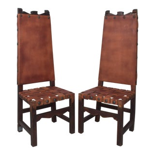 Spanish Colonial Tall Wood Chairs Woven Saddle Leather Style Luis Barragan For Sale