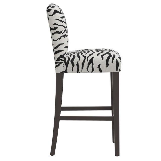 Transitional Bar stool in Linen Zebra Cream Black For Sale - Image 3 of 8