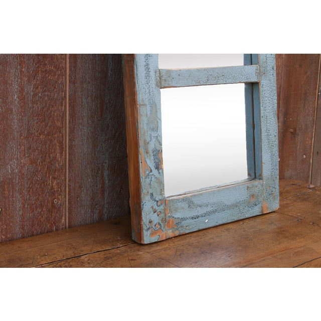 Boho Chic Rustic Paneled Window Mirror For Sale - Image 3 of 5
