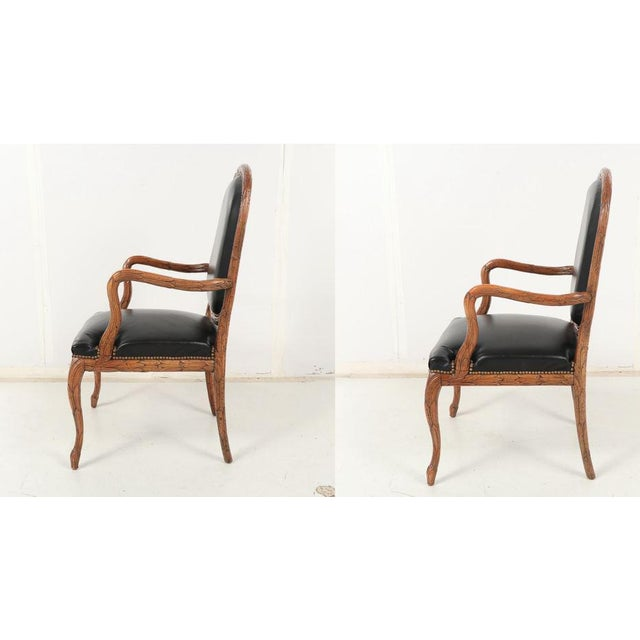 French Provincial Vintage Mid Century Hand-Carved Italian Carved Wood Leather Bound Armchairs- A Pair For Sale - Image 3 of 13