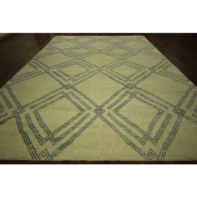 Diamond Moroccan Hand Knotted Rug - 10' x 13' - Image 3 of 10