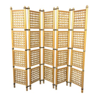 Mid-Century Danish Walnut Five-Panel Folding Room Divider For Sale