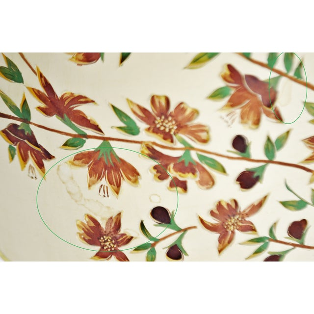 Red Vintage Floral Cut Out Drum Lampshade For Sale - Image 8 of 13