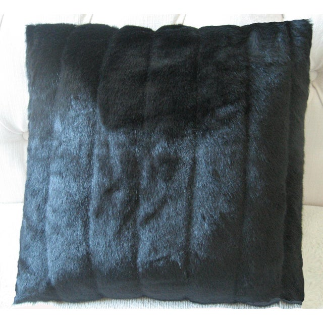 Contemporary Faux Mink Decorative Pillow For Sale - Image 3 of 3