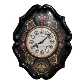 19th Century French Napoleon III Painted Wall Clock For Sale