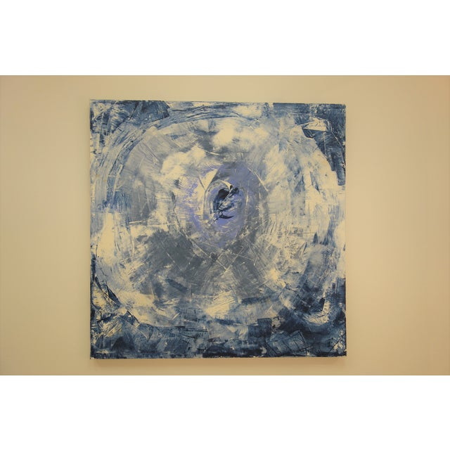 """Blue """"The Eye"""" Blue & White Abstract Painting For Sale - Image 8 of 8"""