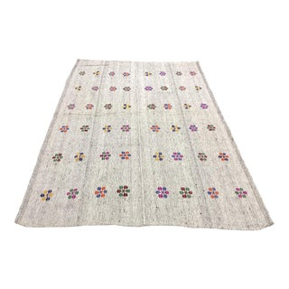 "1960s Vintage Floral Embroidered Traditional Turkish Handmade Aztec Kilim Rug - 6'1"" x 8'10"" For Sale"