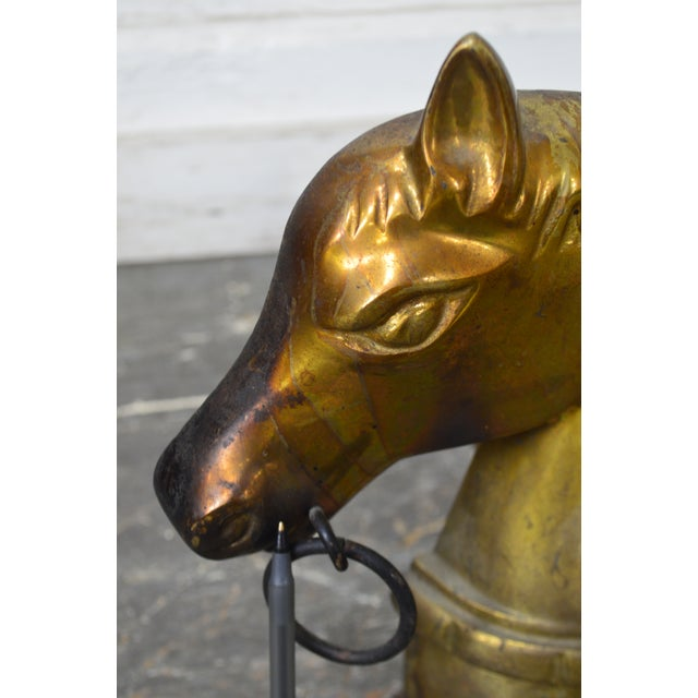 Gold Horse Head Vintage Pair of Brass Fireplace Andirons For Sale - Image 8 of 13