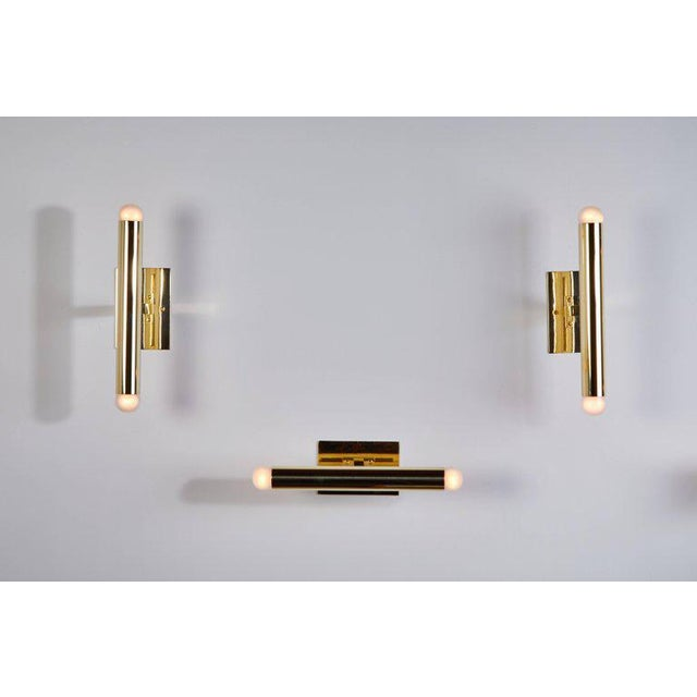 Set of Eight Italian Brass Tubular Sconces For Sale - Image 4 of 7