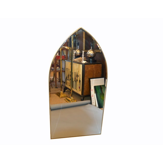1970s Italian Gothic Arch Brass Wall Mirror Hollywood Regency For Sale - Image 5 of 13