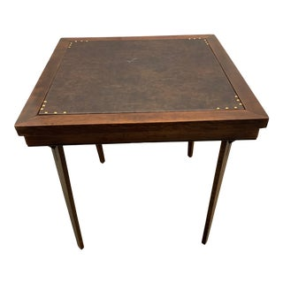Early 20th Century Expandable Leather Top Game Table For Sale