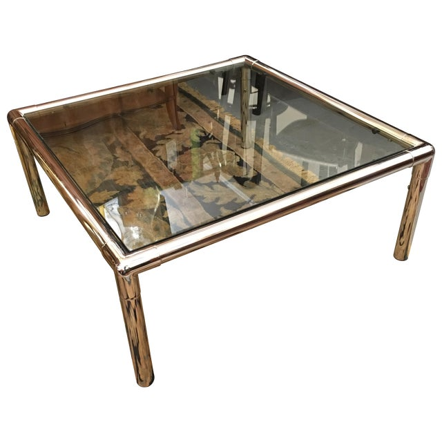 Chrome & Glass Square Coffee Table - Image 1 of 6