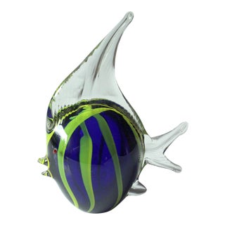 1970s Vintage Large Murano Glass Fish Paperweight Handblown For Sale