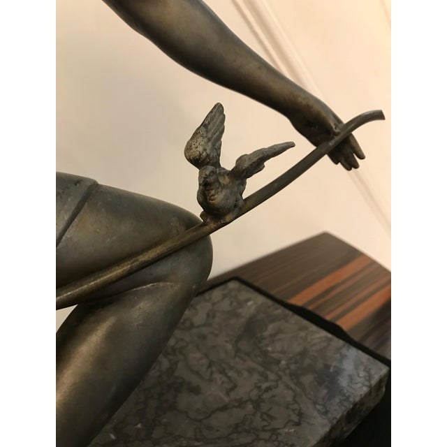 French Art Deco Female Sculpture on Marble For Sale - Image 11 of 13