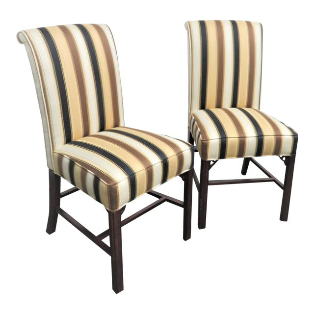 Late 20th Century Vintage Statesville Chair Co. Stripped Chippendale Style Side Chairs-a Pair For Sale