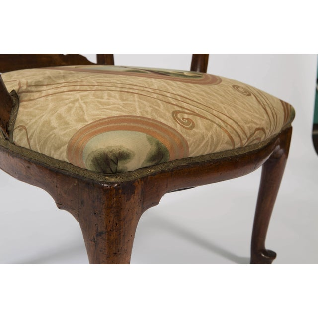 18th Century Vintage Walnut Italian Open Back Armchair For Sale - Image 12 of 13