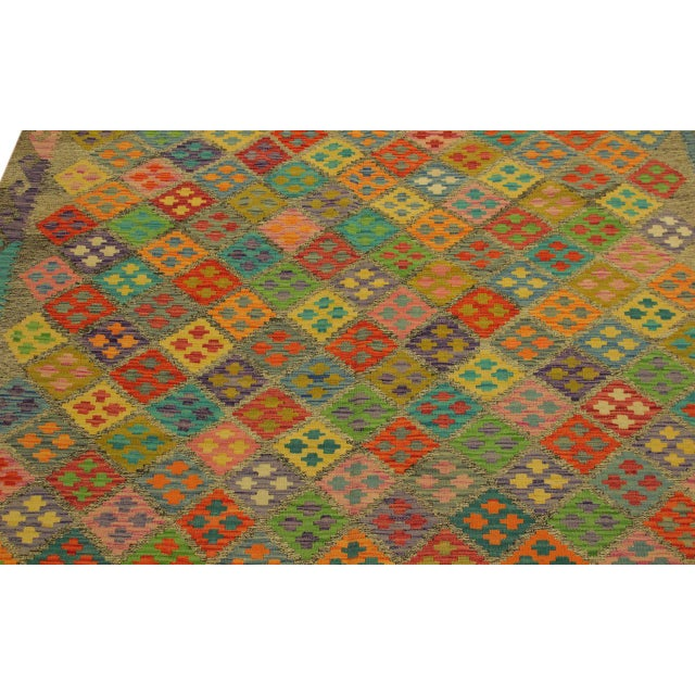 Textile Abstract Margheri Brown/Rust Hand-Woven Kilim Wool Rug -6'3 X 7'11 For Sale - Image 7 of 8