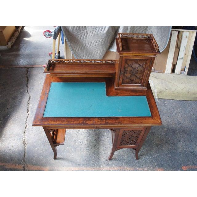 Antique Victorian German Desk Green Vinyl Top Gothic Pierced Fret Board Writing Desk For Sale - Image 9 of 13